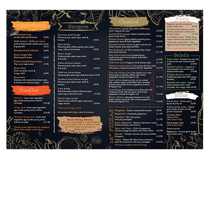 landscape A4 menu
